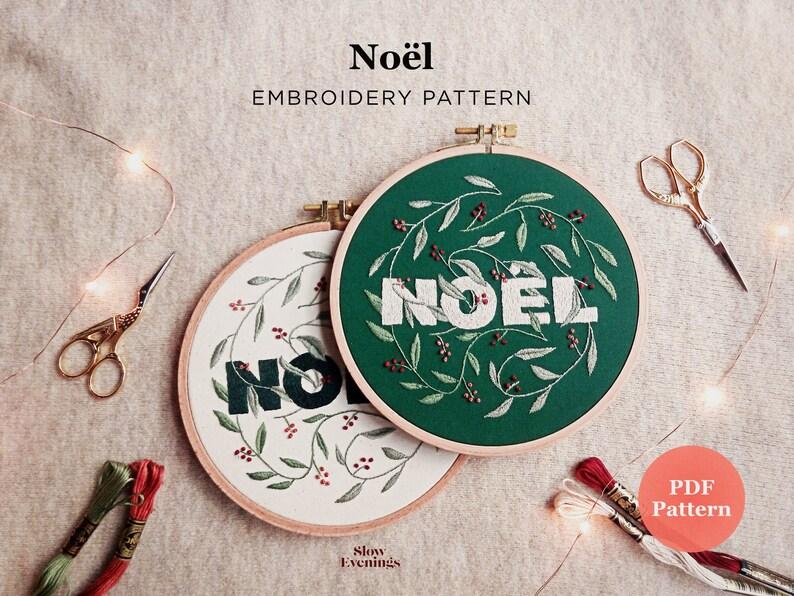 Christmas Embroidery PDF Pattern  Noël  Noel Modern Hand image 0