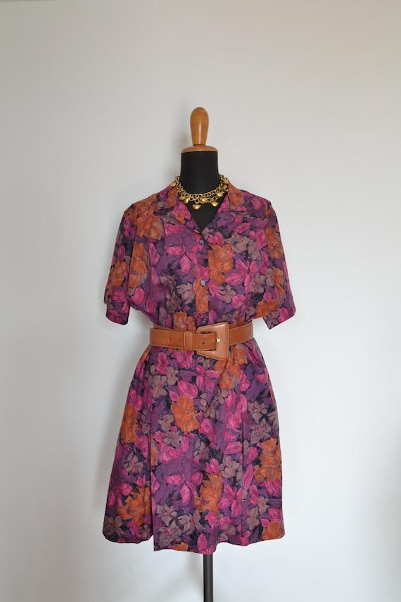 Floral plus size shirt summer dress, plus size vin
