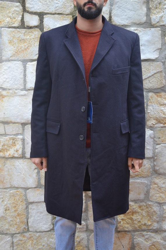 Vintage classic dark blue mens coat, business over