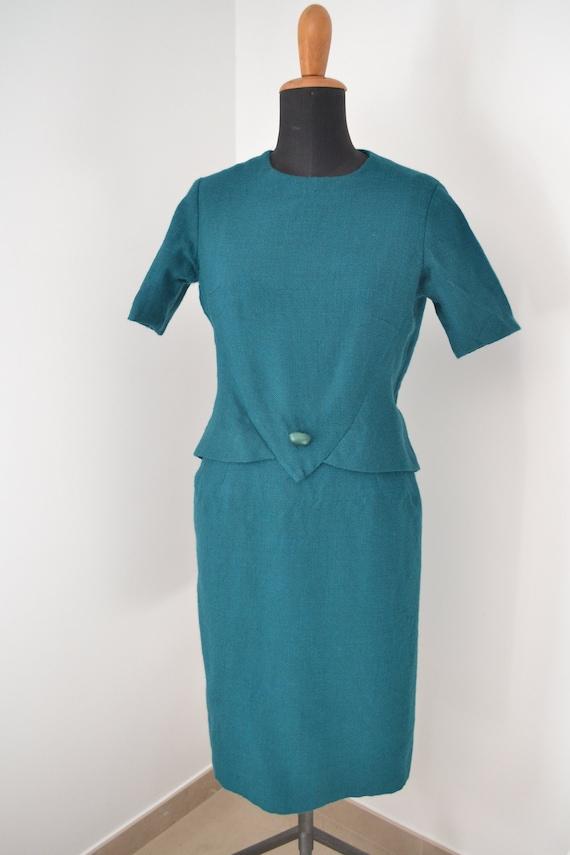 Tailored vintage 50s dress, green pencil dress, 50