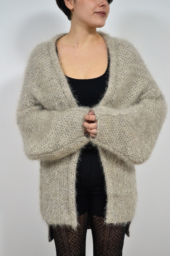 Oversized Chunky Knit and mohair cardigan size M,