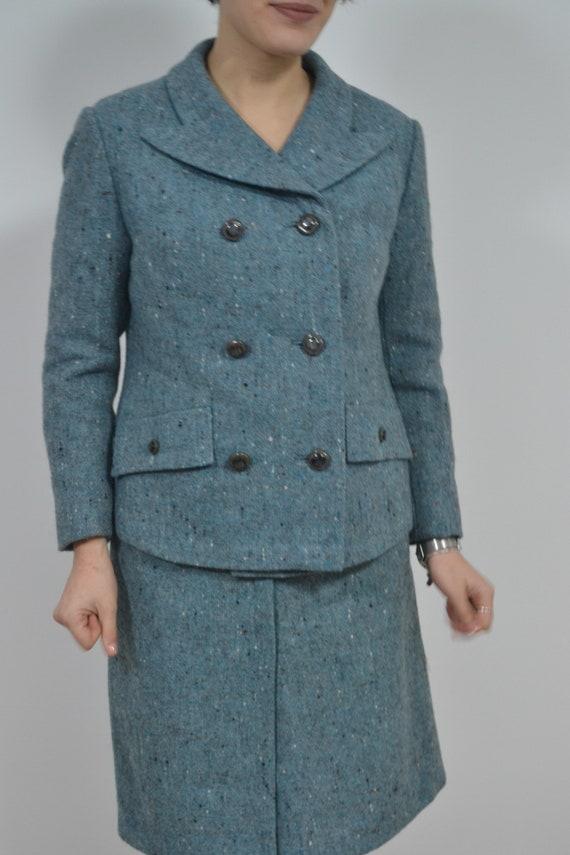 Two piece set 60s skirt suit, 60s womens wool twee
