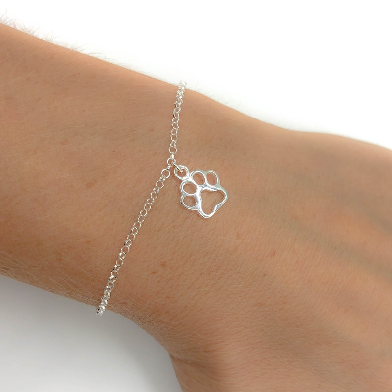 Cat Lover Kitty Gift for her Personalised Little Cat Sterling Silver Dainty Womens Girls Bracelet Christmas Birthday Gift Paw Print