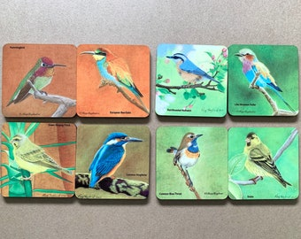 Drink Coasters, choose from a selection of colourful birds from my original coloured pencil art, sold individually or mix and match