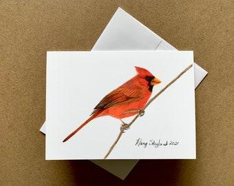 "Cardinal original coloured pencil 5x7"" art card, blank inside, wall art or greeting card"