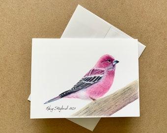"Original coloured pencil 5""x7"" art card of a cute little bird, the Rose Finch, blank inside, wall decor, greeting card"