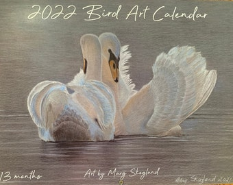 """Bird Art, Wall Calendar, 2021-2022, 13 month, 8 1/2 x 11 inches (11""""x17"""" when open), includes American and Canadian Holidays"""