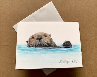 "Original coloured pencil drawing of a Sea Otter from Alaska, 5""x7"" wall decor, wildlife art gift"