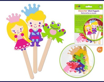 bd2a6efac85c44 Kids Craft Kit - DIY Fun Foam Character Stick Puppets - Enchanted