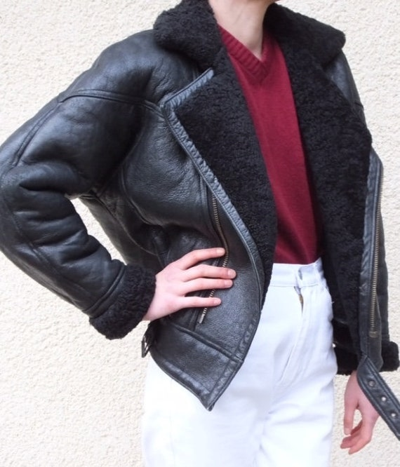 Vintage shearling aviator jacket