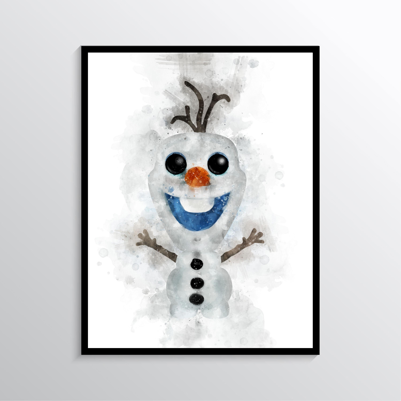 Olaf Printolaf Watercolorfrozen Print Olaf Posterfrozen Etsy