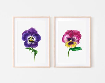 Pansy pastel drawing original painting soft pastels on velvet paper floral artwork macro pansy purple and red bedroom drawing pansy art.