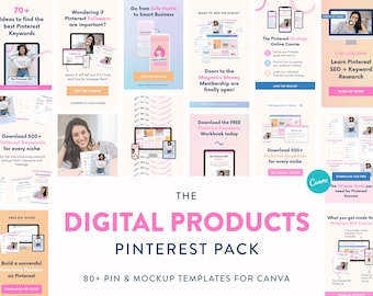Digital Products Pinterest Pack - Canva Templates for Pinterest Pins & Product Mockups - Marketing Pins for Lead Magnets, Workbooks Freebies