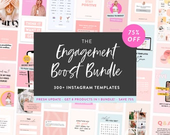 Engagement Boost Bundle for Instagram  - 300+ Canva Posts, Story & Puzzle Templates  - Instagram Templates for Creators and Coaches