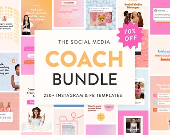 Instagram + Facebook Coach Bundle - 220+ Canva Carousel Posts, Reels & Marketing Templates  - Engagement Booster for Small Biz and Coaches