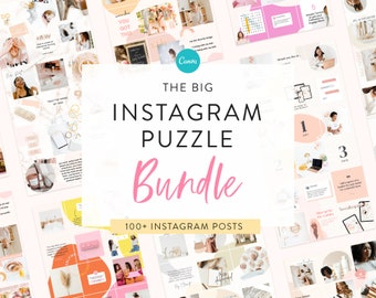 6 in 1 Instagram Puzzle Template Bundle - Canva Instagram Templates for Puzzle Grids & Layouts - Engagement - Beauty - Small Biz - Mom Baby