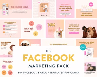 Marketing Pack for Facebook - Canva Templates for Facebook Posts & Cover Banners - Social Media Marketing for Small Biz and Content Creators