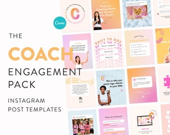 Coach Engagement Template Pack for Instagram - Canva Square Post & Carousel Templates - Skyrocket your IG Engagement - Coach Business Boost