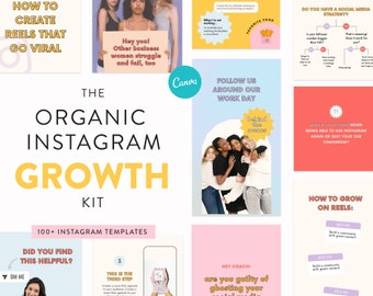 Organic Instagram Growth Template Kit - Canva Templates for Instagram Posts, Stories & Reels - Grow successful on Instagram - Coach Business