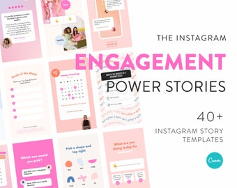 Engagement Story Templates for Instagram - 40+ Canva Templates for Instagram Story - 10 IG Story Stickers - Boost your Instagram Stories