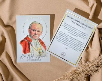 St. John Paul II Large Prayer Card with Gold Foil