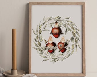 Three Hearts of the Holy Family Print -- Sacred Heart of Jesus, Immaculate Heart of Mary, Most Chaste Heart of St. Joseph