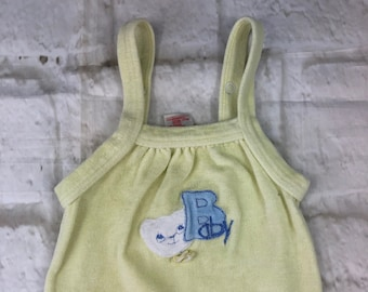 Vintage Velour Stretch Baby Dungarees Romper Suit Lemon Yellow Pastel Embroidered 12-18 Months 1980s