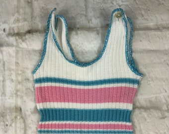 Vintage Fine Knit Stretch Baby Dungarees Romper Body Suit Blue & Pink Stripes 0-3 Months 1960s 1970s