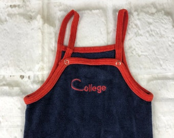 Vintage Velour Stretch Baby Dungarees Romper Suit Navy Red Embroidered 12-18 Months 1970s 1980s