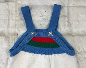 Vintage Fine Knit Stretch Baby Dungarees Romper Body Suit White Blue Green Red 3-6 Months 1980s