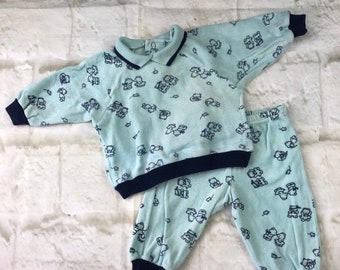 Vintage Baby Babies Newborn Mothercare 2 Piece Blue Velour Teddy Bears Tracksuit Soft Sweater & Trousers Set 1980s Age 0-3 Months