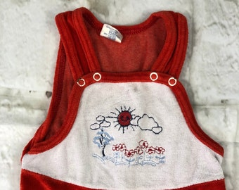Vintage C&A Velour Stretch Baby Dungarees Romper Suit Red White Embroidered 12-18 Months 1980s