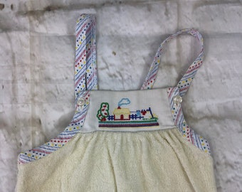 Vintage St Michael M&S Velour Stretch Baby Dungarees Romper Suit Embroidered 0-6 Months 1980s