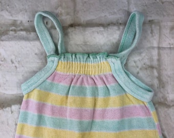 Vintage Mothercare Velour Stretch Baby Dungarees Romper Suit Pastel Rainbow Stripes Stripey 3-6 Months 70cms 1980s