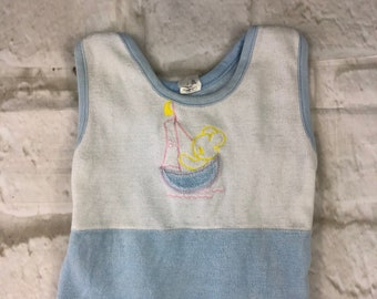 Vintage Velour Stretch Baby Dungarees Romper Suit Blue & White Teddy Bear Embroidered 6-9 Months 1980s