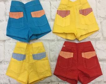 Vintage Retro Mini Micro Summer Shorts w/ Pockets Bright Red Yellow Blue 1950s 1960s