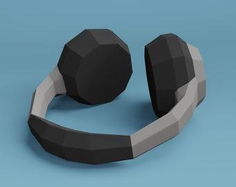 Low poly headphones, DIY real size paper sculpture, pdf download, 3d papercraft headphones sculpture. ARTem Craft Studio