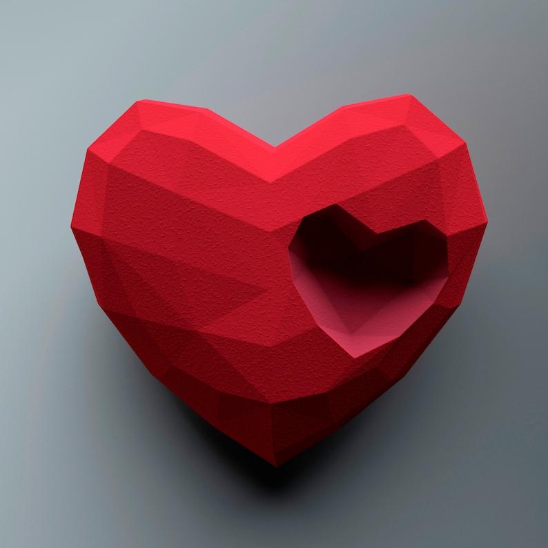 3D Papercraft Low Poly Heart, DIY big paper Heart sculpture, pdf download,  cute papercraft sculpture  Artem Craft Studio