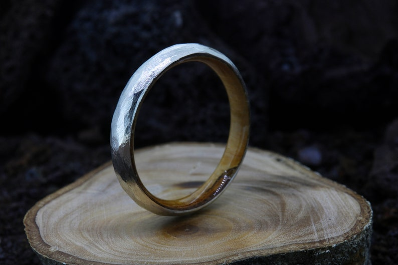 Hand Faceted Sterling Silver /& Olive Wood wood inlay wedding band ring Sicilian