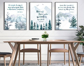 Set of 3 JRR TOLKIEN Quote Watercolor Art Prints  - Inspirational Quote Art Prints - Birthday Gift - Housewarming Gift