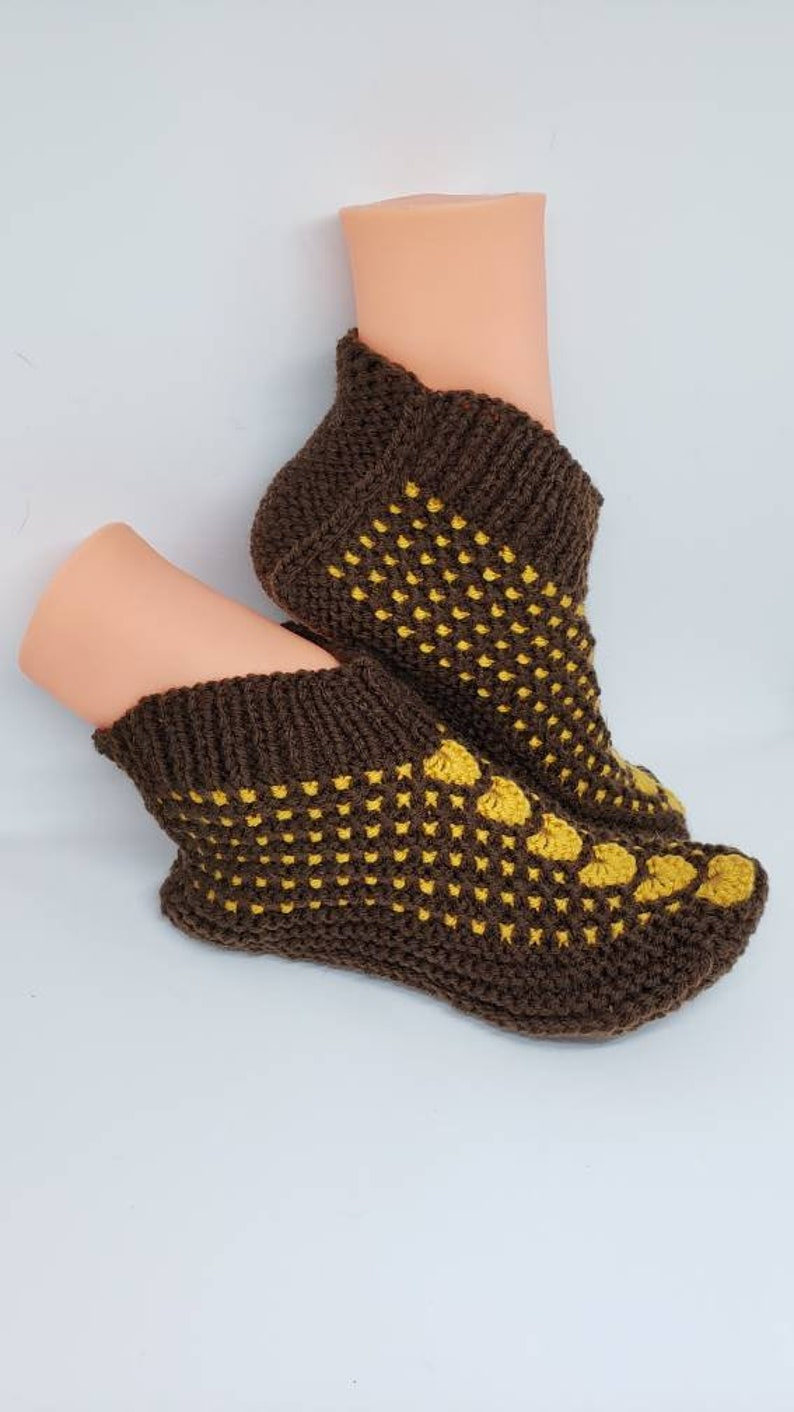 Slippers 8-9 shoe size Medium size Crochet At Home Socks Hand Made Knitted