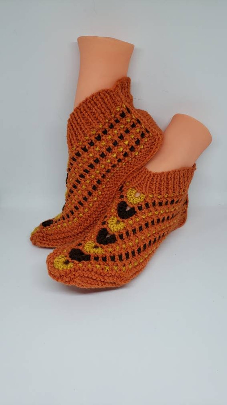 Crochet At Home Socks 11-12 shoe size Slippers X-Large Knitted