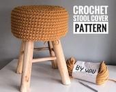 Crochet Pattern Stool Cover, Crochet Stool Cover Pattern, Crochet Home Decor, Scandinavian Crochet Decor, DIY Stool Pattern Crochet Tutorial