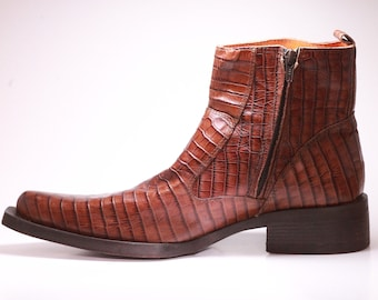 05f41a5d3c8fc Vintage Vero Cuoio Men s Boots Genuine Alligator Size US 9