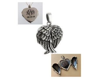 BULK 3 Angel wing locket antique silver tone AW89