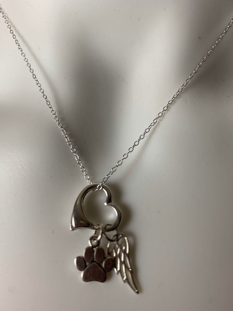 Pet Dog Cat Memorial Pendant Paw Print Angel Wing Floating Heart Pendant Sterling Silver Charm Necklace