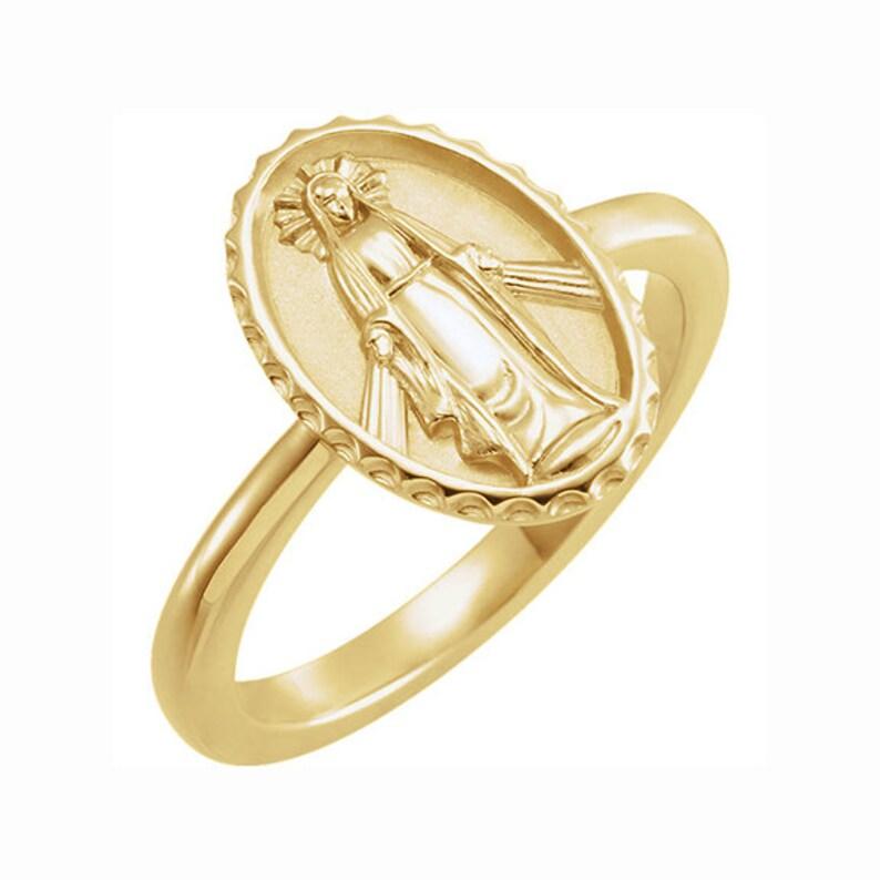 Real 14K Yellow Gold Enamel Virgin Mary Religious Potrait Pendant Charm Small