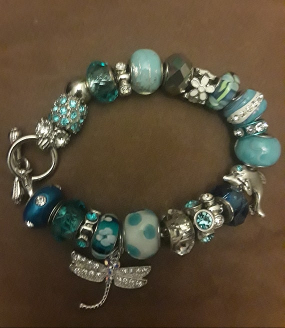 Blue Pandora Charm Bracelets With Firefly Dolphin Angel And Etsy