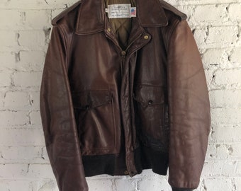 95adbb0f14ec Vintage 70s 80s Leather Flight Jacket