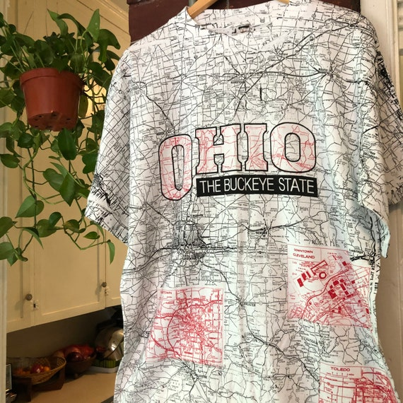 Vintage Ohio State All Over Print Map T-shirt